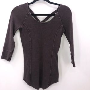 Free People Strappy Back 3/4 Sleeve Ribbed Top S